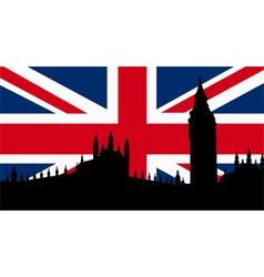 British Design with Big Ben Flag vector image vector image