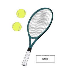 drawing tennis set vector image vector image