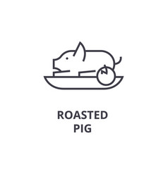 roasted pig line icon outline sign linear symbol vector image vector image