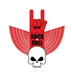 Rock and roll hand sign and wings with skull vector image vector image