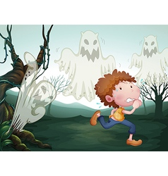 The boy and the three ghosts vector image