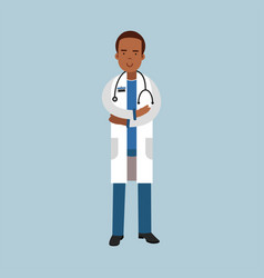 black male doctor character in uniform standing vector image vector image