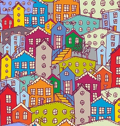 Cityscape seamless pattern Sketch orange blue vector image
