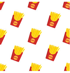 french fries seamless pattern vector image
