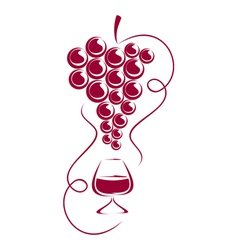grapes and wine glass vector image vector image