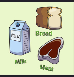 milk bread and meat vector image vector image