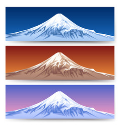 snow capped mount fuji banners vector image
