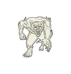 Werewolf Monster Running Mono Line vector image vector image
