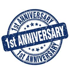 1st anniversary blue grunge stamp vector