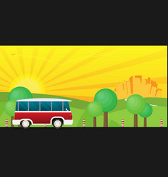 a retro travel van with nature background vector image