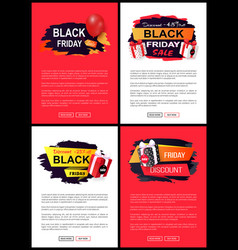 Black friday discounts and clearance web pages vector