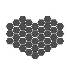 Black honeycomb set in shape of heart Beehive vector