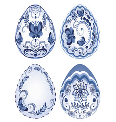 Blue floral easter eggs vector