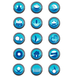 Blue logo elements in a round container vector image