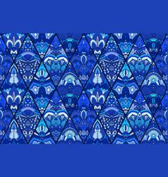 blue tile background floral pattern vector image