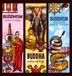 buddhism religion sacred symbols sketch banners vector image