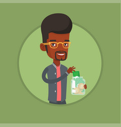 business man putting dollar into money box vector image