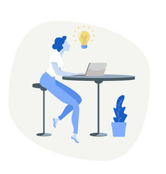 Businesswoman using computer with lightbulb vector
