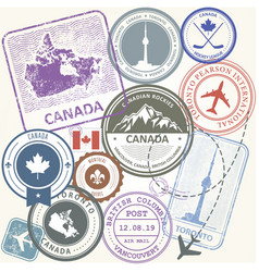 Canada travel stamps set - toronto journey vector