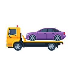 Car evacuator with damaged car auto accident flat vector