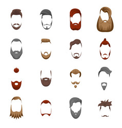 cartoon color bearded man haircut icon set vector image