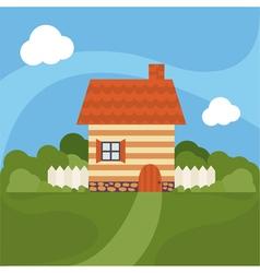 cartoon house with garden vector image