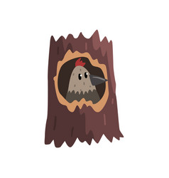 Cute bird sitting in hollow of tree hollowed out vector
