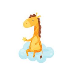 Cute sleepy little giraffe sitting on a cloud vector