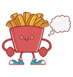 Cute smiling french fries icon cartoon vector