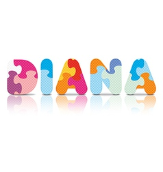 DIANA written with alphabet puzzle vector