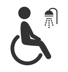 Disability man pictograph flat icon shower vector