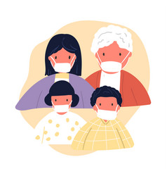 Family wearing protective medical face mask vector