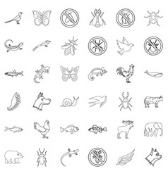 fauna icons set outline style vector image