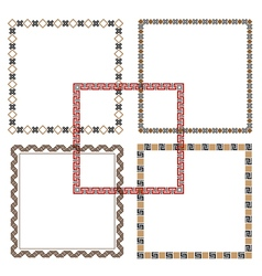 Five geometric ethnic frames vector