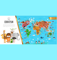 flat fauna world map composition vector image