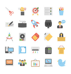 flat icons set of office and internet vector image