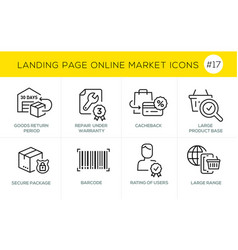 flat line design concept icons online shopping e vector image