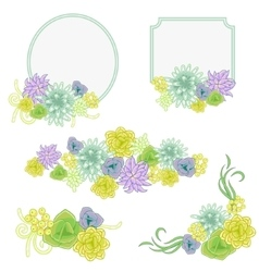Floral banner card set flower invitation badge vector