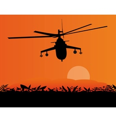 flying helicopter above ground vector image