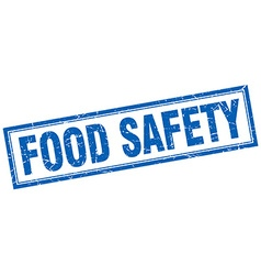 Food safety blue grunge square stamp on white vector