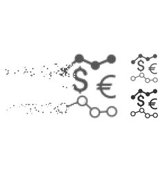 Fragmented pixel halftone currency charts icon vector