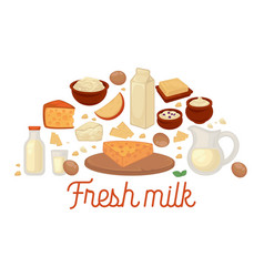 fresh milk production made at home poster set vector image