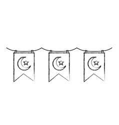 garlands with crescent moon and star hanging vector image