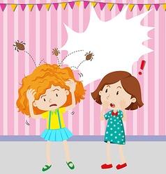 Girl having head lice vector