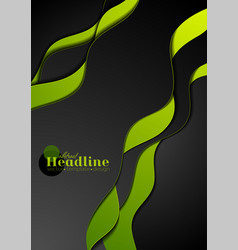 Green black abstract wavy corporate background vector
