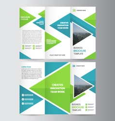 Green blue business trifold Leaflet Brochure set vector