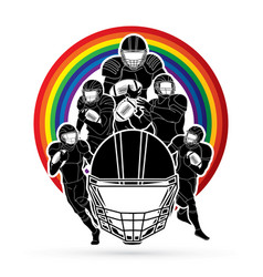 group american football player sportsman vector image