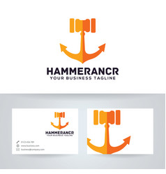 hammer anchor logo design vector image