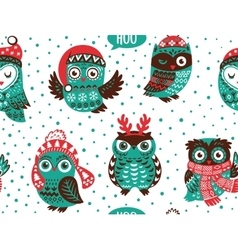 hand drawn winter background with christmas owls vector image