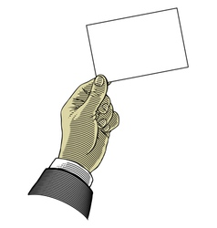 hand holding blank paper vector image vector image